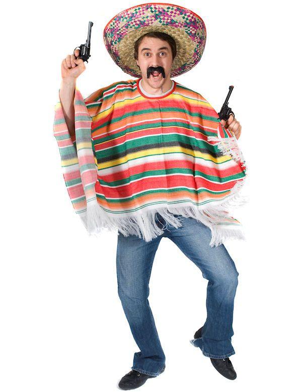 Mexicaanse Regenboog Poncho Volwassen Kostuum