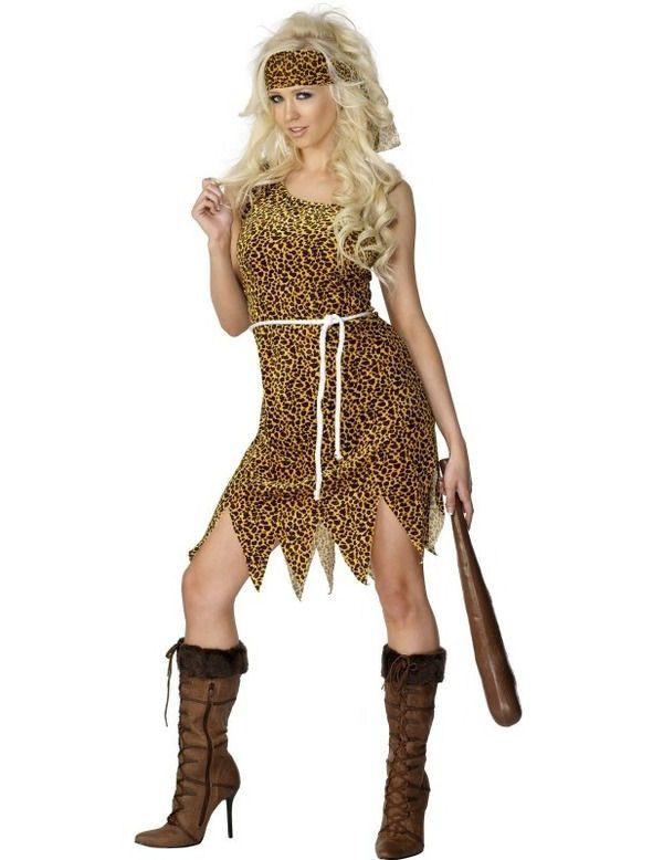 Holbewoner Bruin Fluweel Vrouw Kostuum