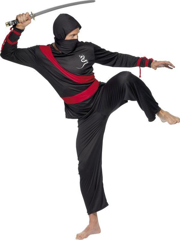 Zwart Rode Ninja Strijder Man Kostuum