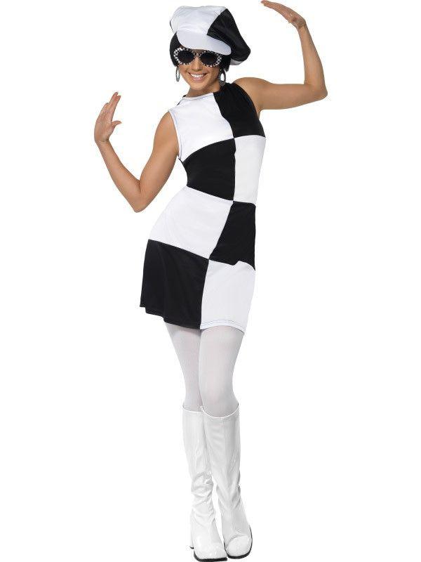 Sixties Black And White Partygirl Vrouw Kostuum