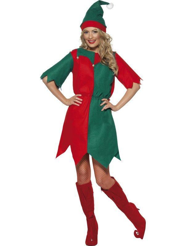 Groen-Rode Kerst Elf Vrouw Kostuum