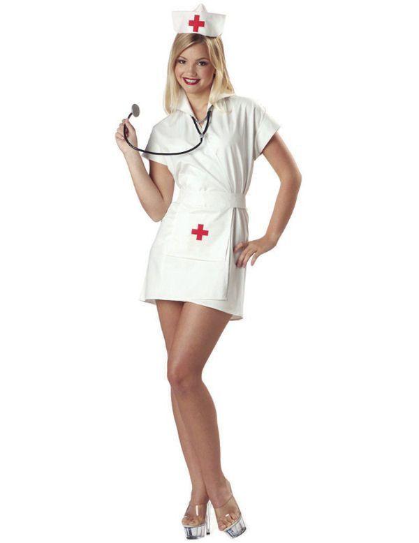 Verpleegster Kostuum Kort Vrouw