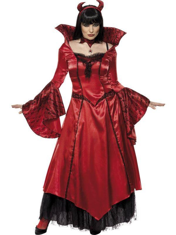 Lange Chique Vriendin Van De Duivel Vrouw Kostuum
