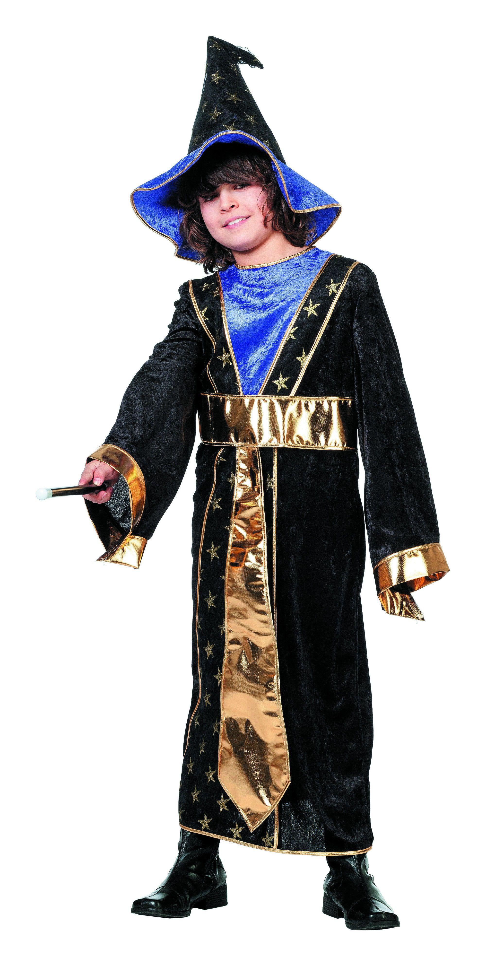 Gouden Tovenaarsjongen Met Hoed Kostuum