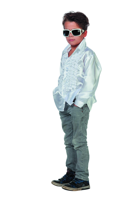 Witte Ruchesblouse Satijn Disco Fly-Boy Jongen