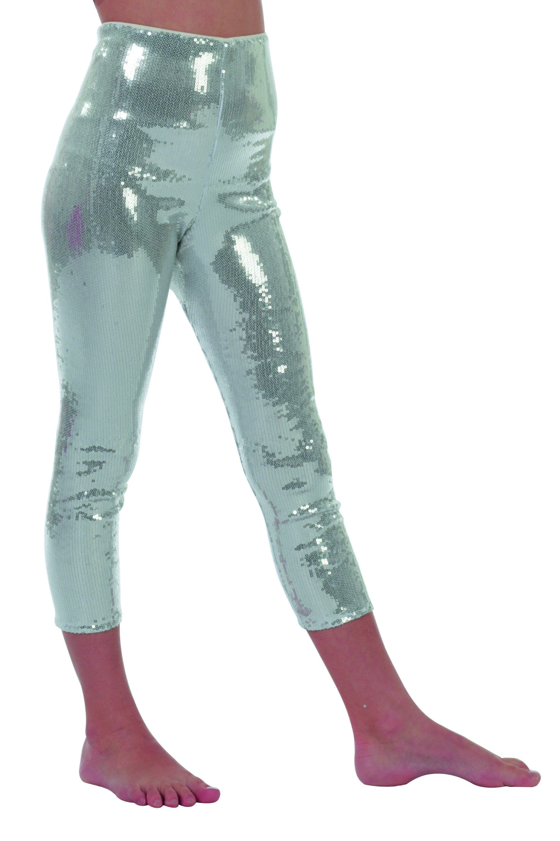 Zilveren Disco Legging Pailletten