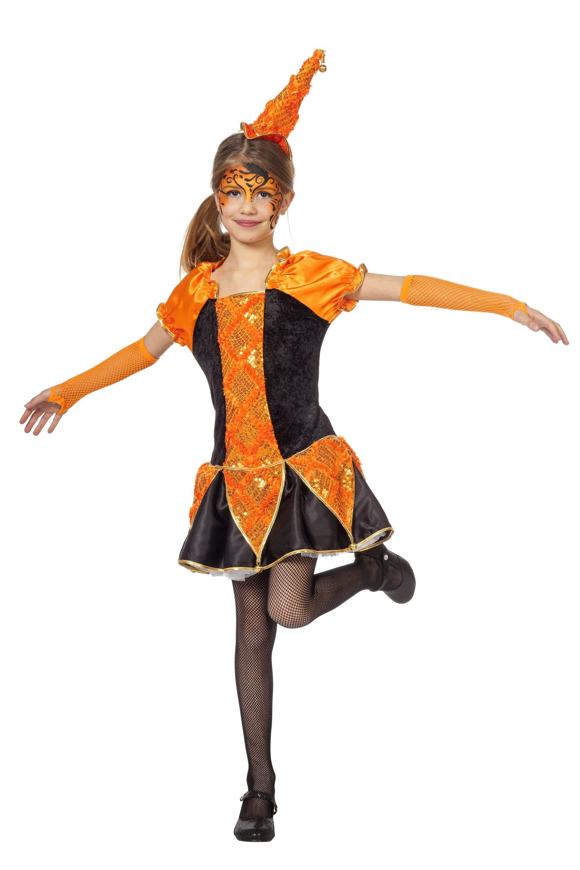 Oranje Pierot Luxe Joker Meisje Kostuum