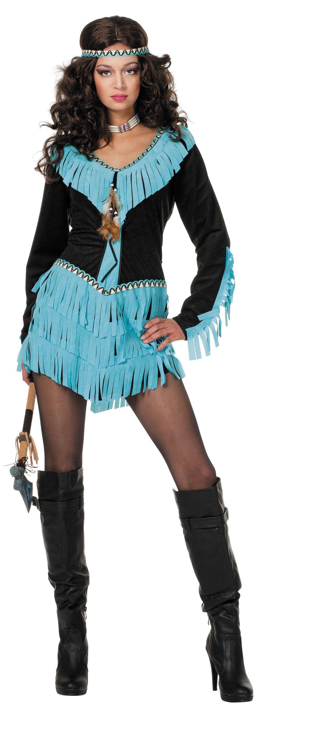 Mooie Mariska Indiaanse Wishbone Zwart / Aqua Vrouw Kostuum
