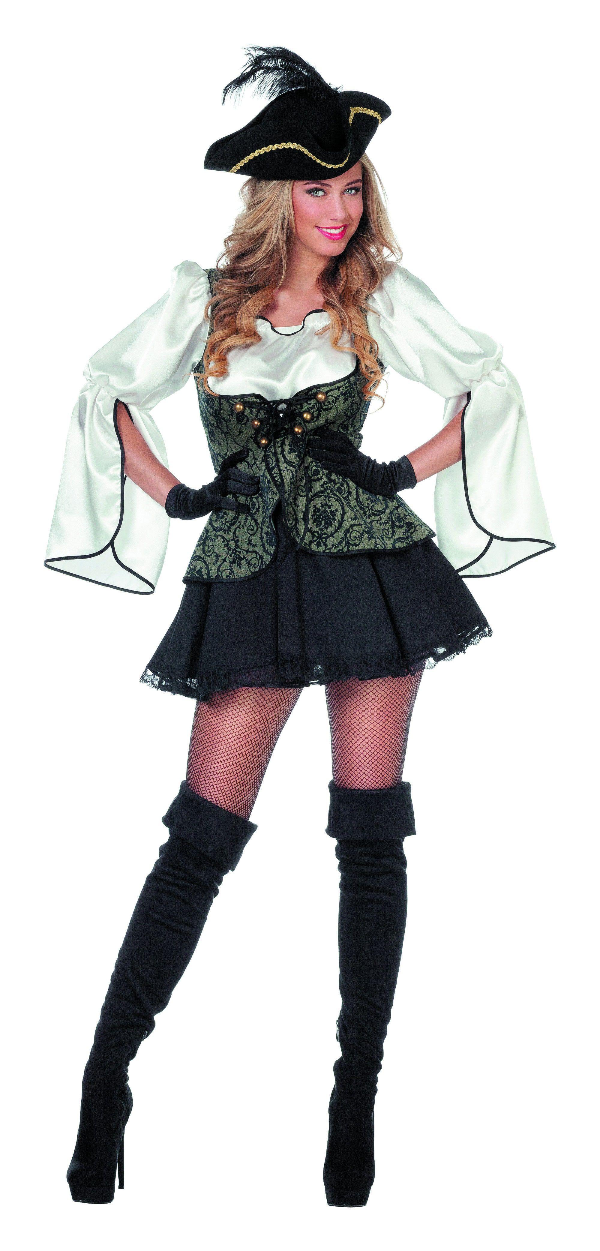 Grijs-Zwarte Pirate Vrouw Kostuum