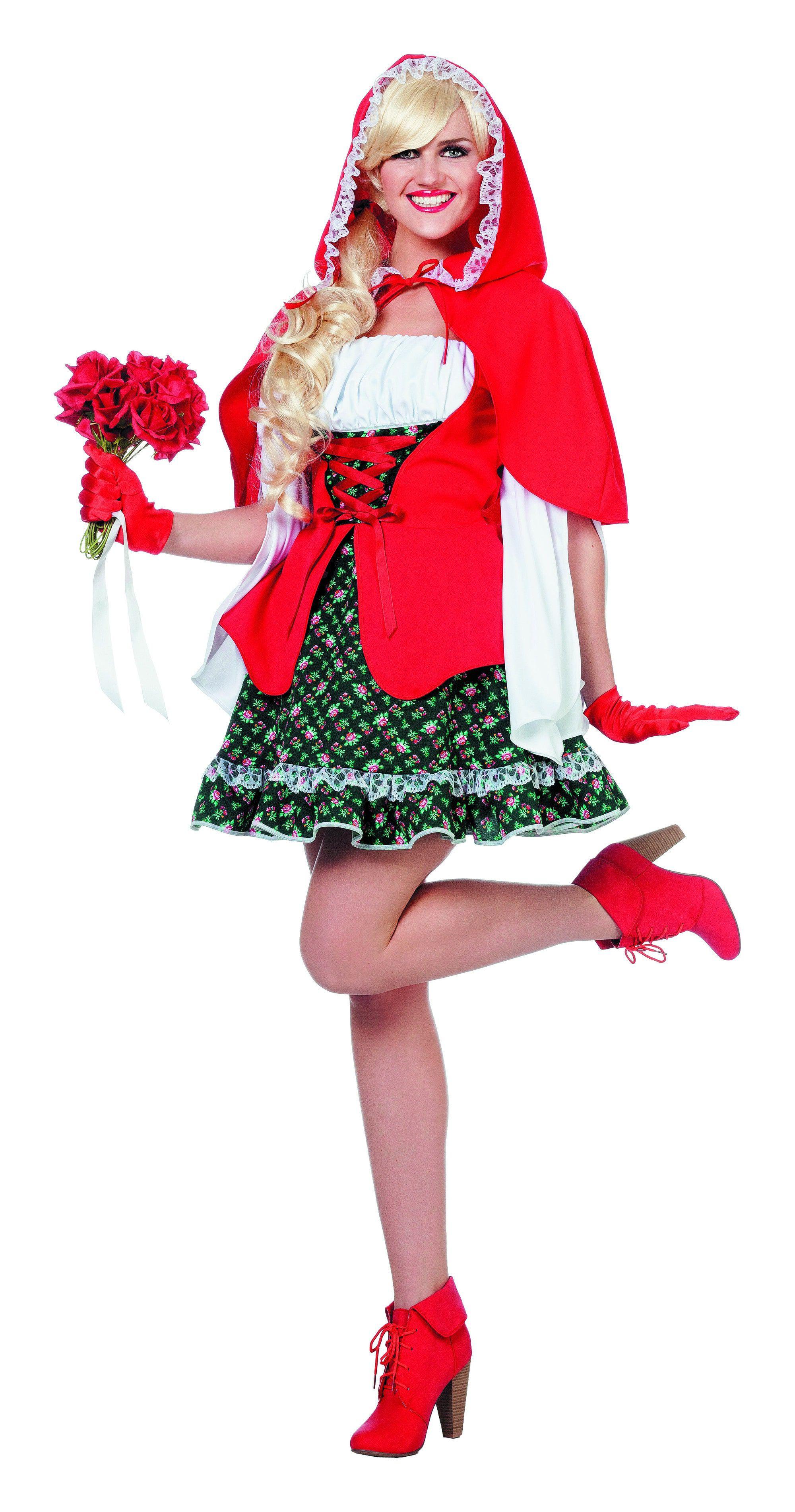 Sprookjes Dame Met Rode Cape (Luxe) Vrouw Kostuum