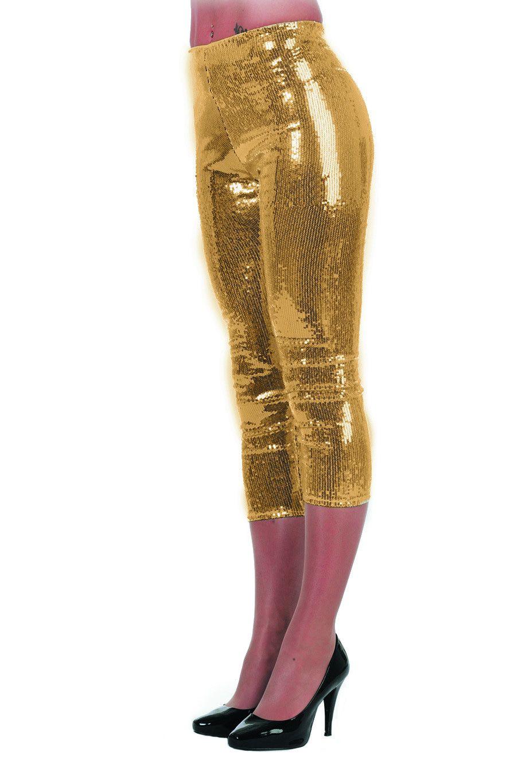 Gouden Legging Pailletten Stretch Vrouw