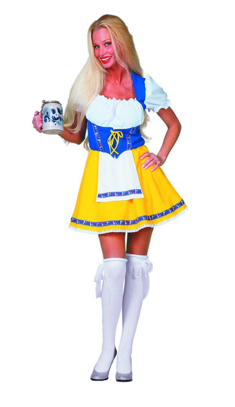 Dirndl Lady Biermeisje Geel / Blauw Vrouw Kostuum