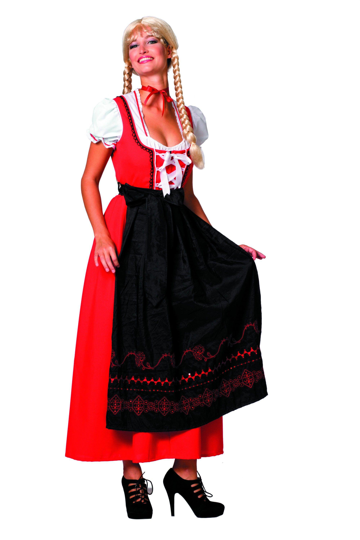 Biermeisje Dirndl Lang Rood / Zwart Vrouw Kostuum