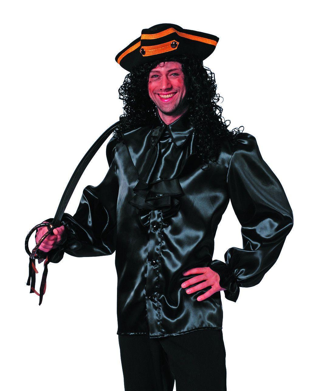 Zwarte Jabot Blouse Man