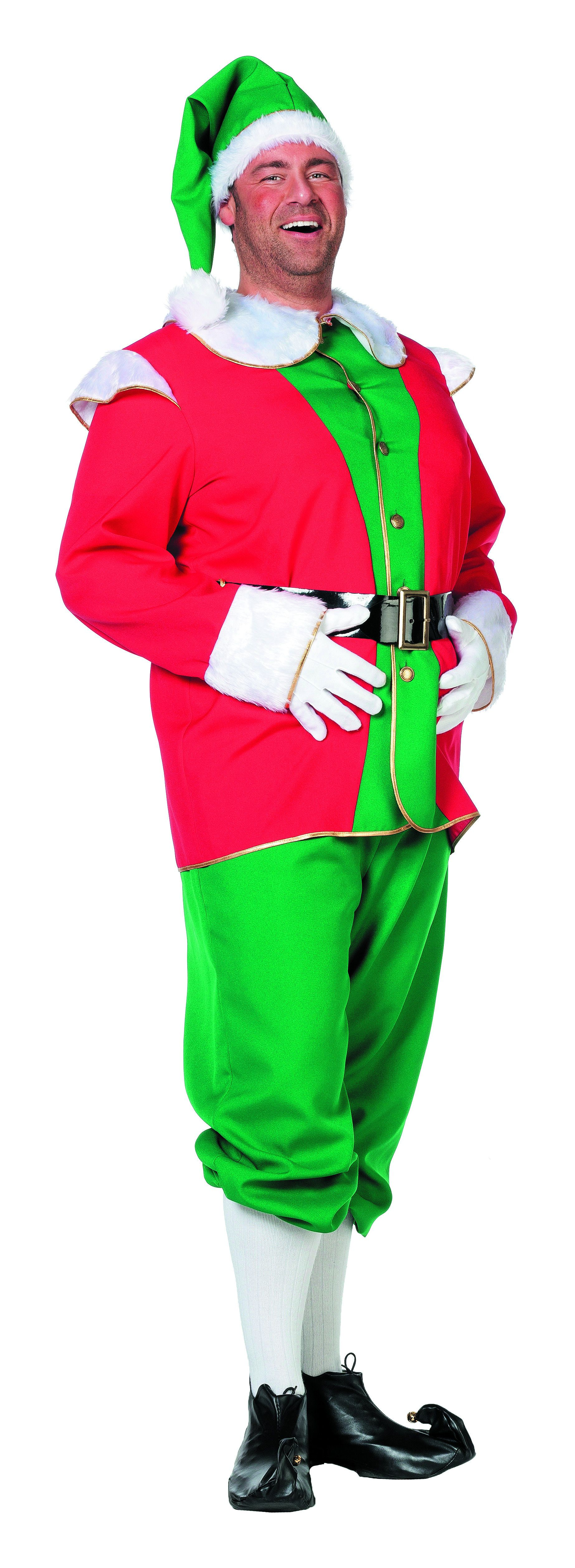 Engelse Elf Rood / Groen Met Muts Man Plus Size Kostuum
