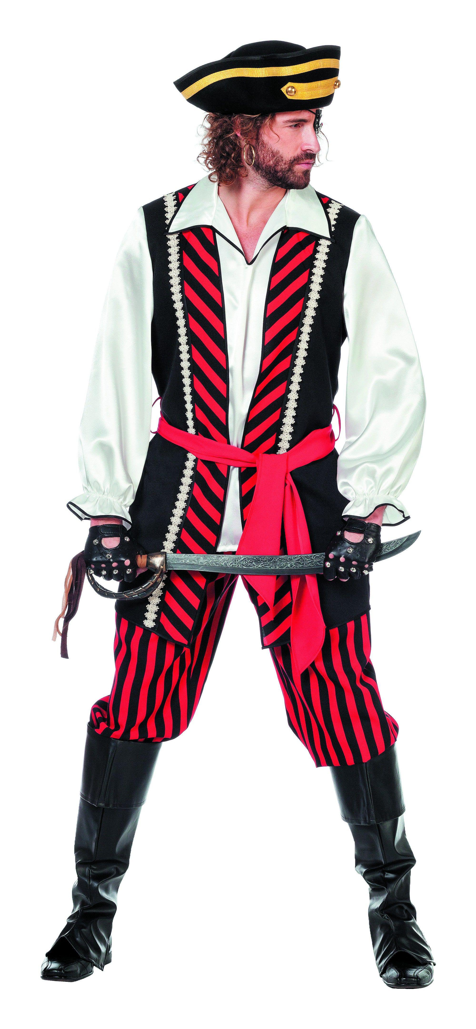 Gestreepte Piratenheer Man Kostuum