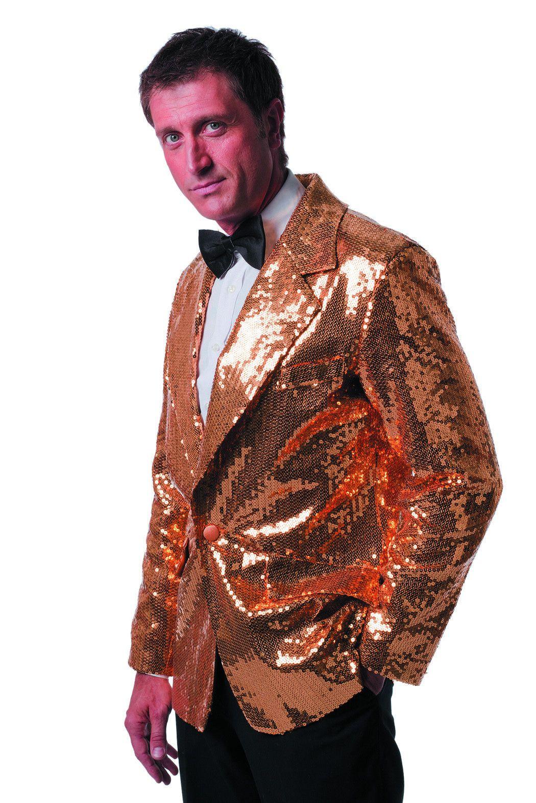 Gouden Showmaster Paillettenkolbert Luxe Man Kostuum