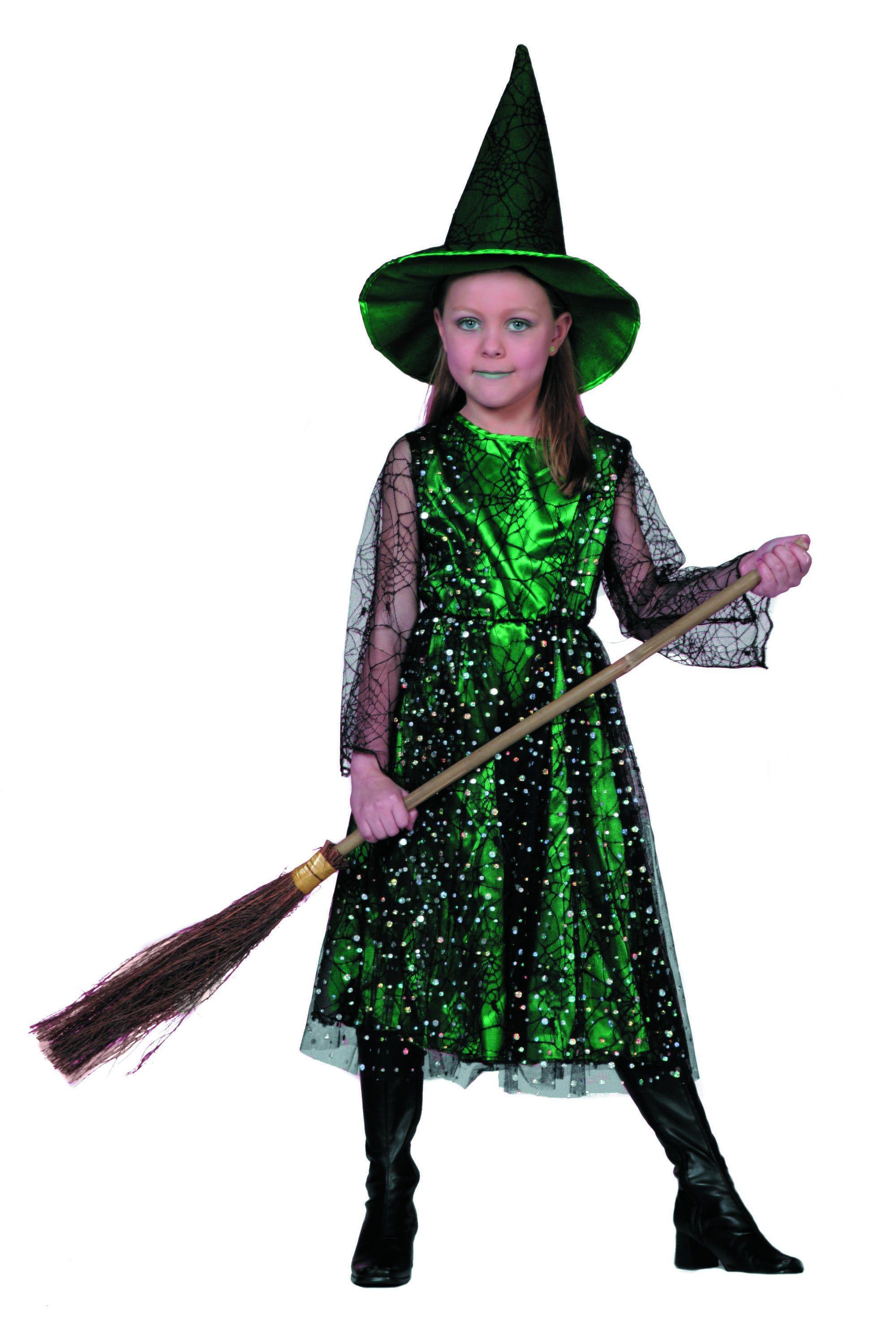Groene Lieve Heks Met Hoed Groen Meisje Kostuum