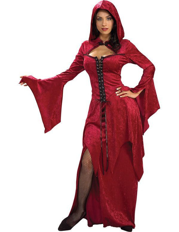 Karmazijnrood Gothic Vrouw Kostuum