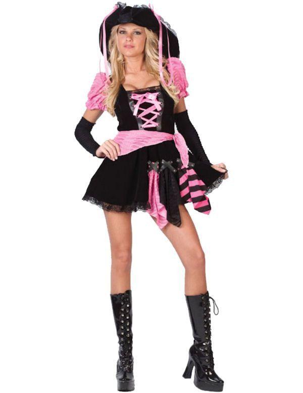 Roze Punk Piraat Vrouw Kostuum