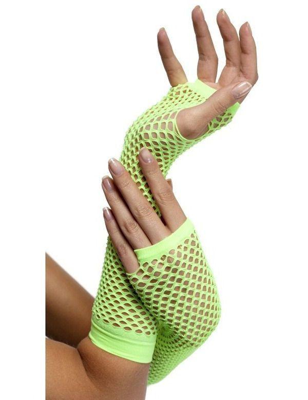 Lange Neon Groene Vingerloze Visnet Handschoenen Vrouw