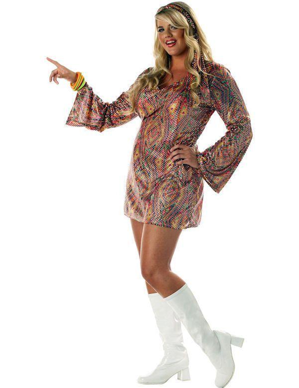 Jaren 70 Disco Dame (Grote Maat) Vrouw Kostuum