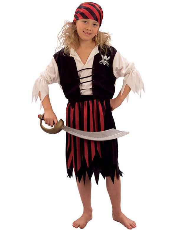 Gestreept Piraat Meisje Kostuum