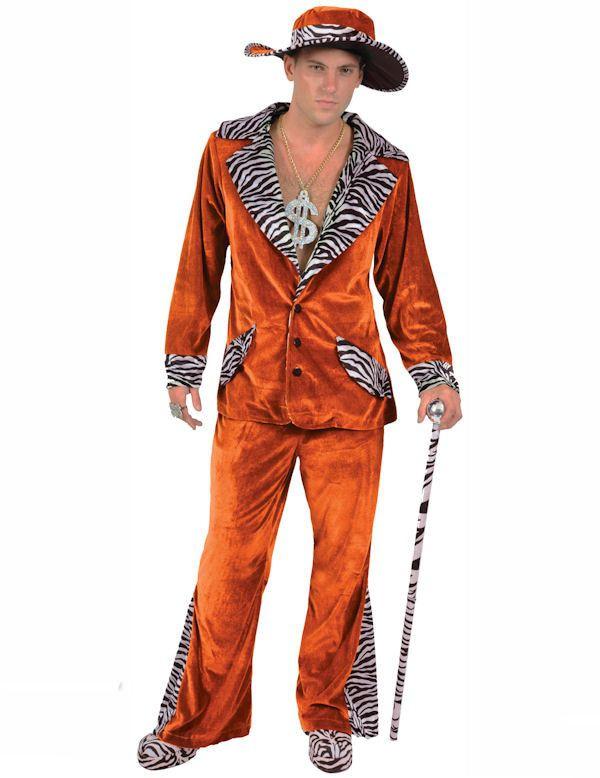 Oranje Pooier Pimp Kostuum & Hoed Man