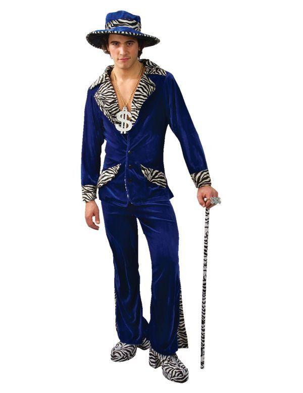Pooier Met Hoed Blauw Man Kostuum