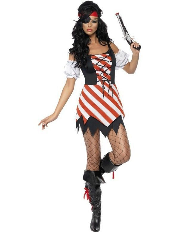 Fever Gestreept Piraat Vrouw Kostuum