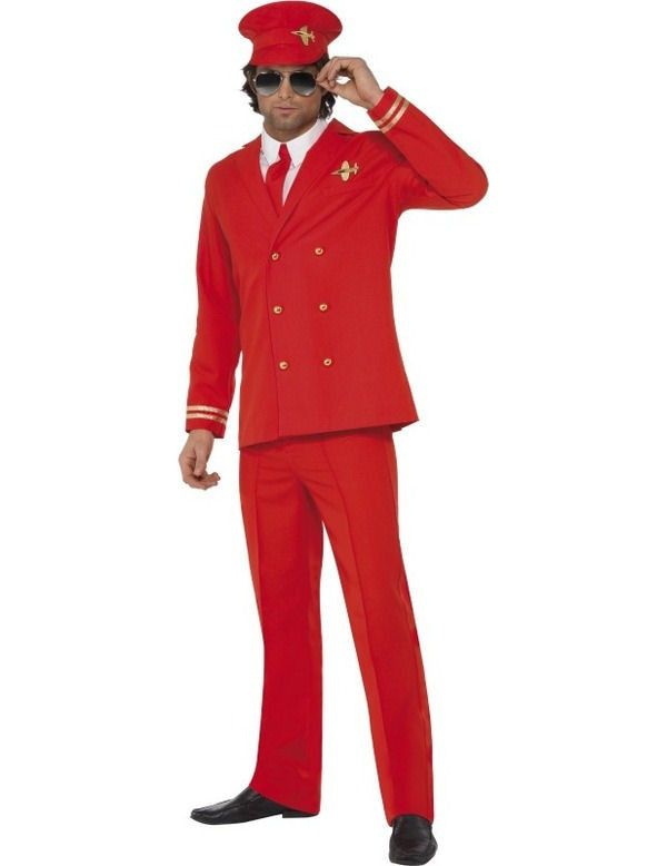 Sexy Rood Piloot Man Kostuum