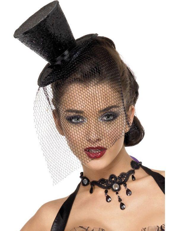 Zwarte Hoge Hoed Met Mini Glitters Vrouw