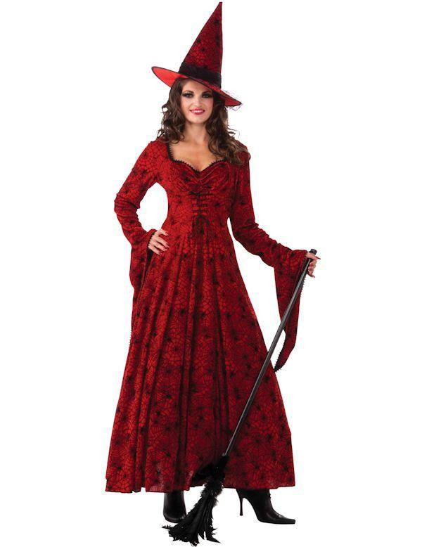 Karmozijnrode Heks Vrouw Kostuum