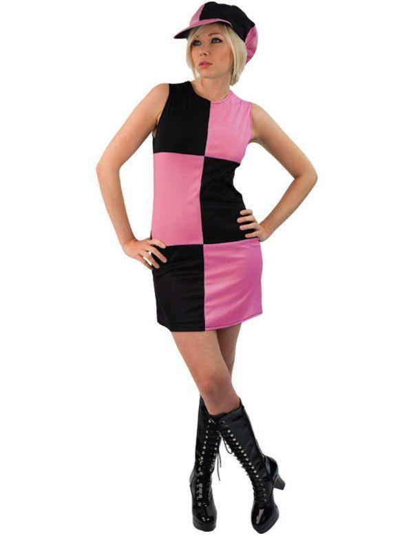 60s Dame Kostuum (Zwart & Roze) Vrouw
