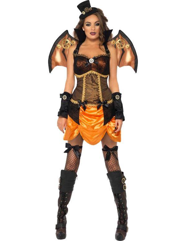 Sexy Steampunk Vleermuis Vrouw Kostuum