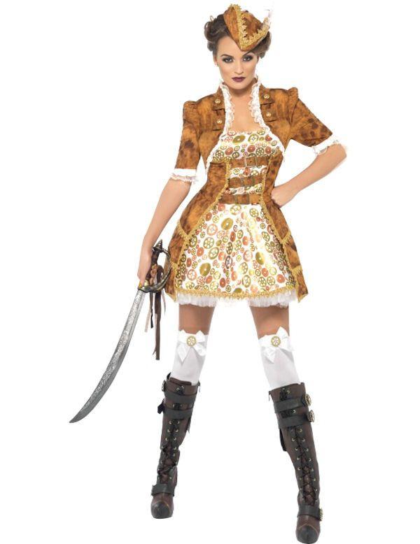 Sexy Steampunk Pirate Vrouw Kostuum