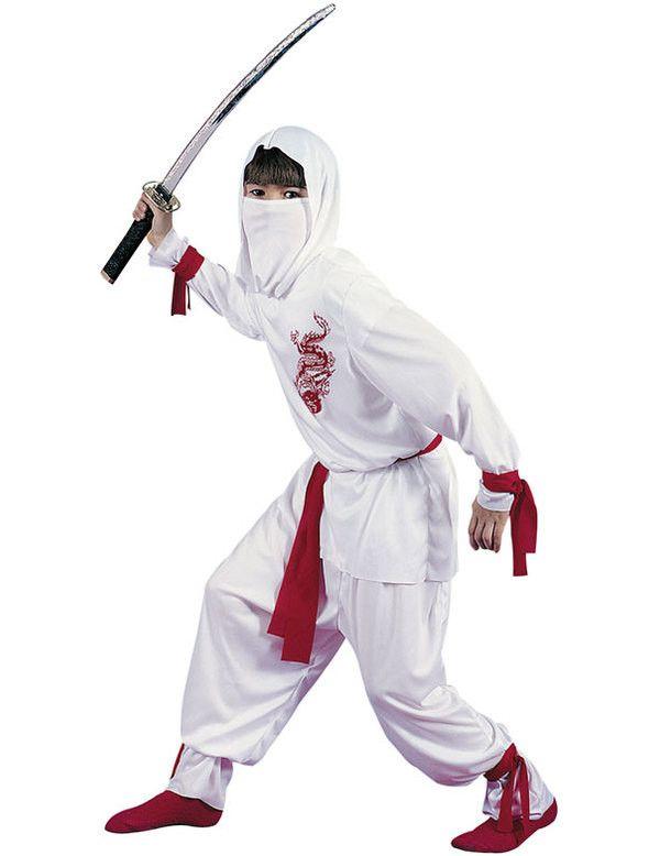 Kind Witte Ninja Jongen Kostuum