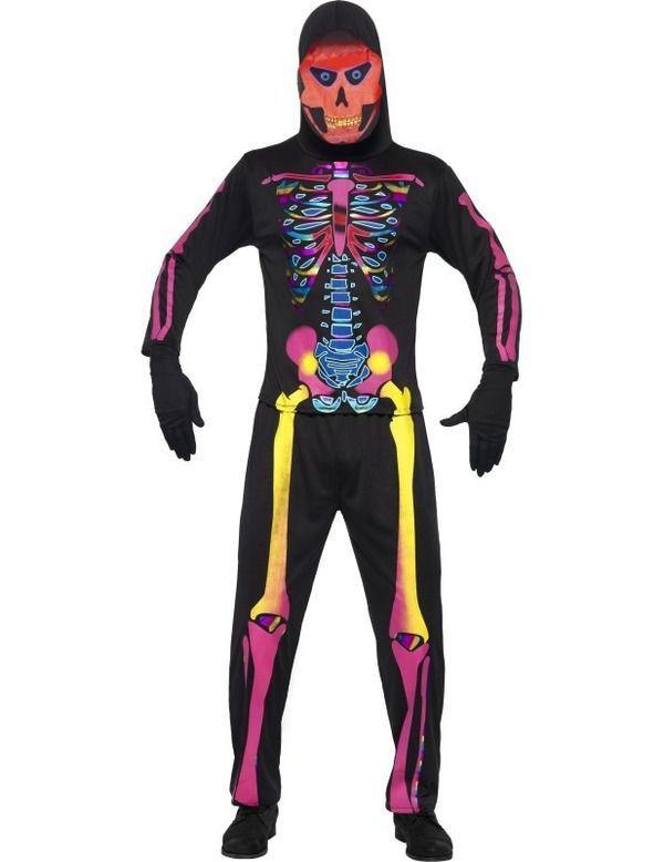 Neon Skelet Beenderen Man Kostuum