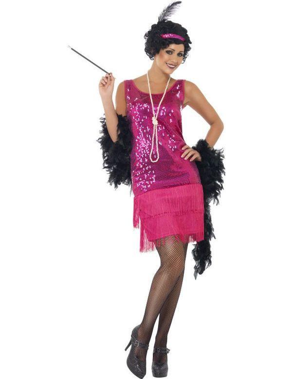 Glimmende Roze Flapper Vrouw Kostuum