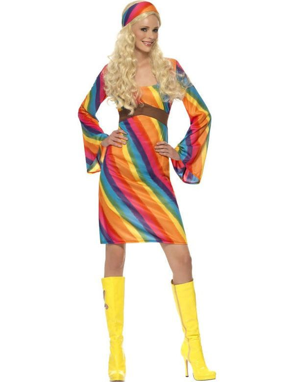 Dames Rainbow Hippie Vrouw Kostuum