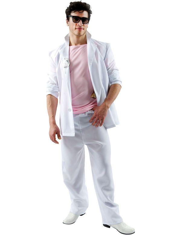 Miami Vice Detective Kostuum (Roze Met Wit) Man
