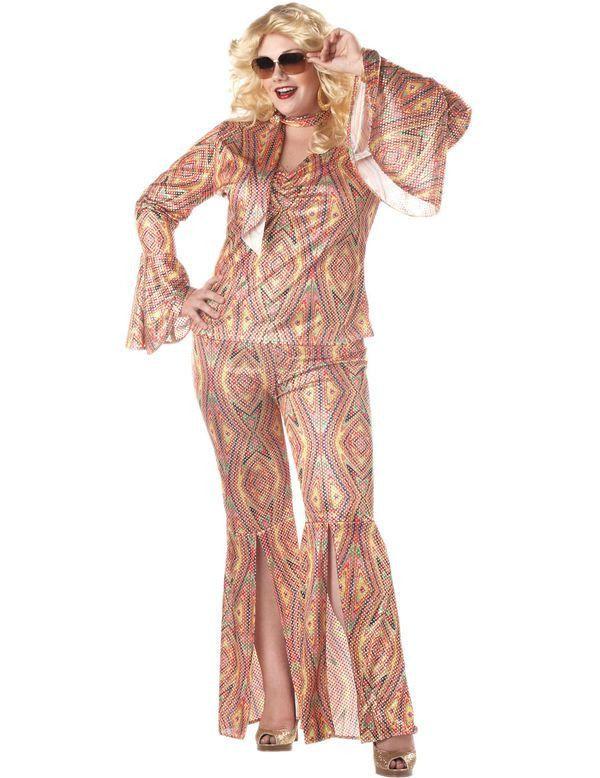 Vrouwen Discolicious 70s Kostuum (Grote Maat) Vrouw