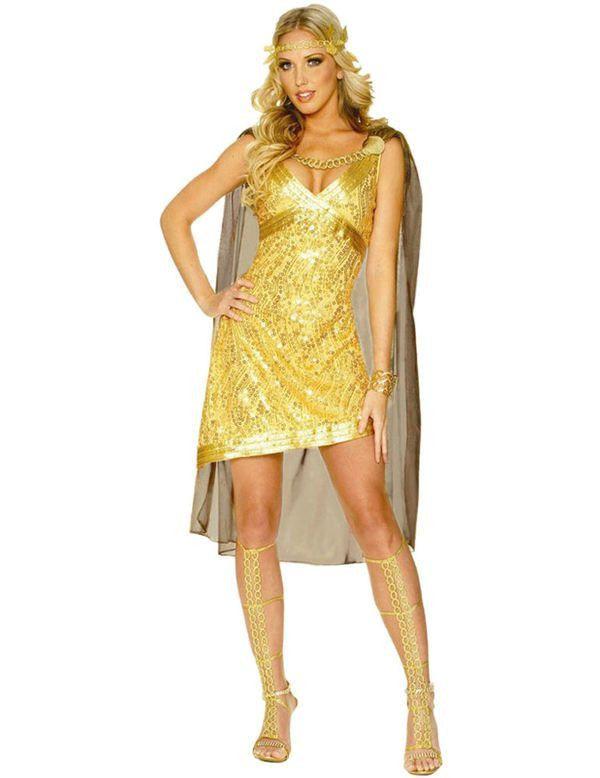 Gouden Godin Vrouw Kostuum