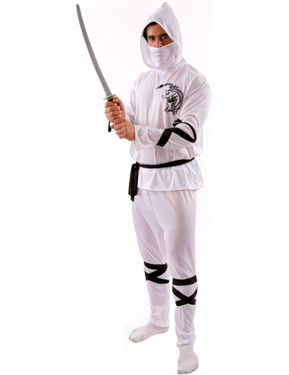Witte Ninja Met Zwarte Accenten Kostuum Man