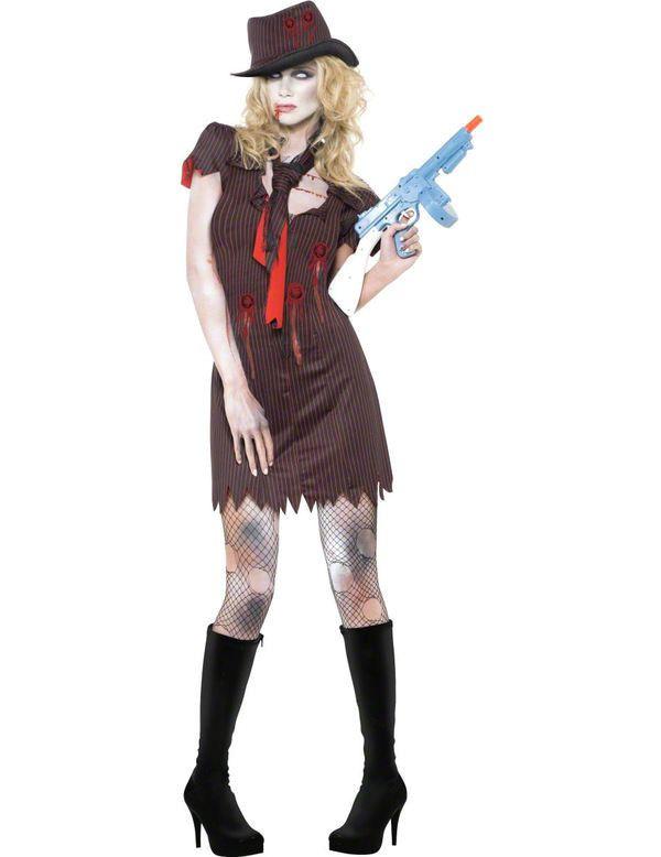 Sexy Zombie Gangster Vrouw Kostuum