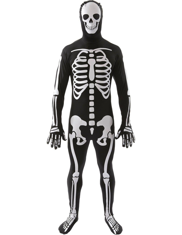 Skelet Zwart-Wit Skin Suit Man Kostuum