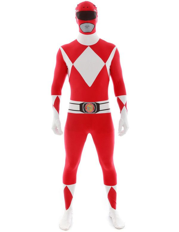 Rood Power Ranger Morphsuit Man Kostuum
