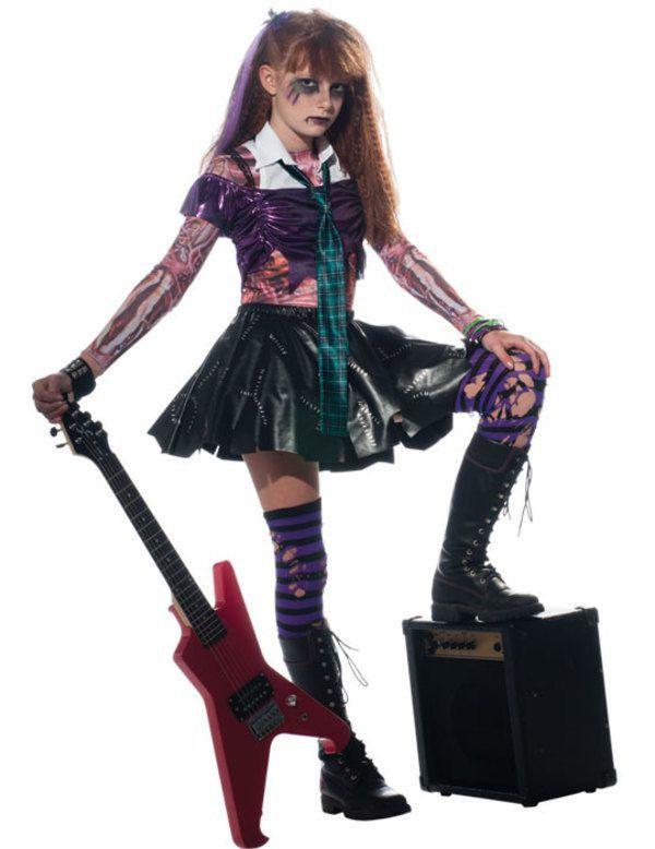 Kinder Zombie Rockster Meisje Kostuum