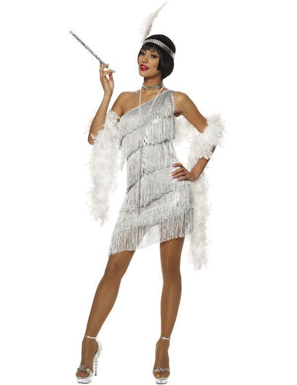 Jaren 20 Oogverblindend Flapper Zilver Vrouw Kostuum