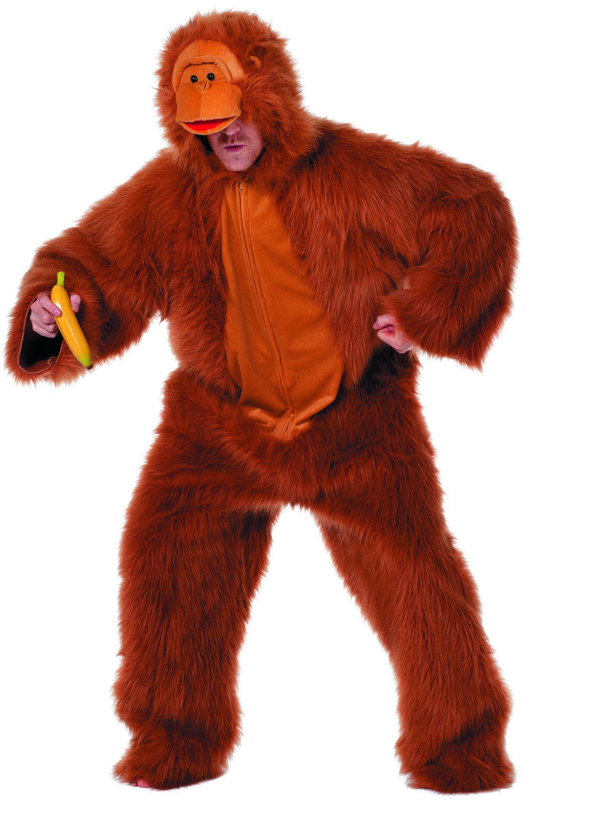 Gevaarlijke Pluche Gorilla De Luxe Beige Man Kostuum